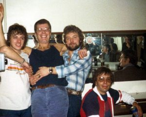 Old photo of Climax Blues Band back stage in 1980