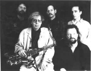 Old photo from 1989 of Climax Blues Band with Colin Cooper on sax