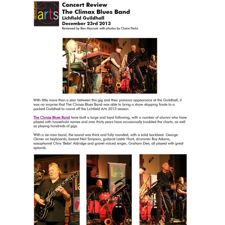 Screen capture of Climax Blues Band Lichfield Guildhall review 2013