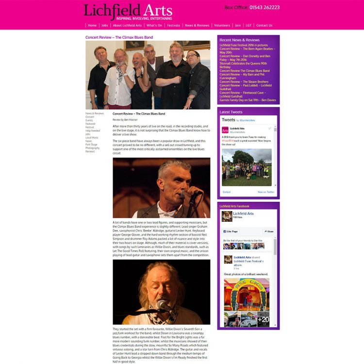Screen capture of concert review of Climax Blues Band at the 2014 Lichfield Arts Festival