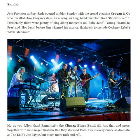 Screen capture of Pete Feenstra review of Climax Blues Band at the 2015 Giants of Rock Show in Minehead
