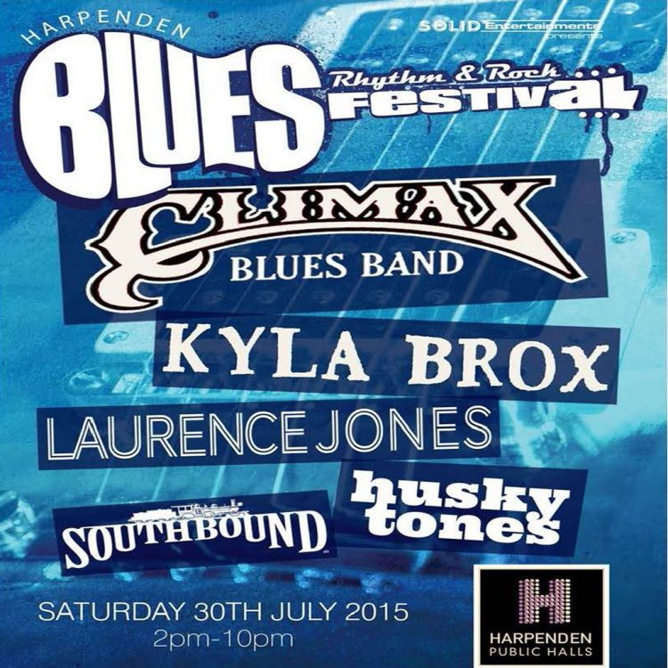 Poster for Harpenden Blues Festival with Climax Blues Band July 30, 2016
