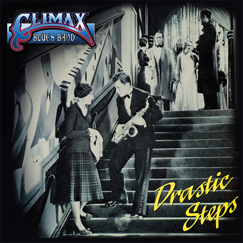 Climax Blues Band Drastic Steps album cover with black and white photo of sax player from the 1920s