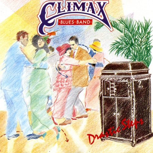 Colour pencil illustration of couples dancing on front of Climax Blues Band Drastic Steps album cover