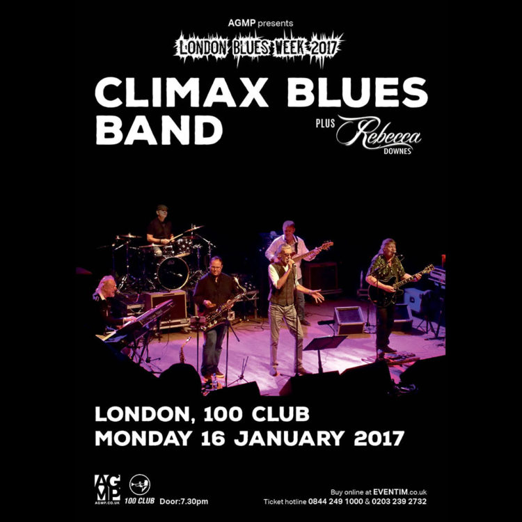 Poster for Climax Blues Band playing at the London 100 Club January 16, 2017