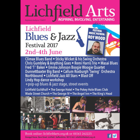 Poster for Lichfield Blues and Jazz Festival held at the Pokey Hole Blues Club with Roy Wood as Music Patron. and headline act Climax Blues Band