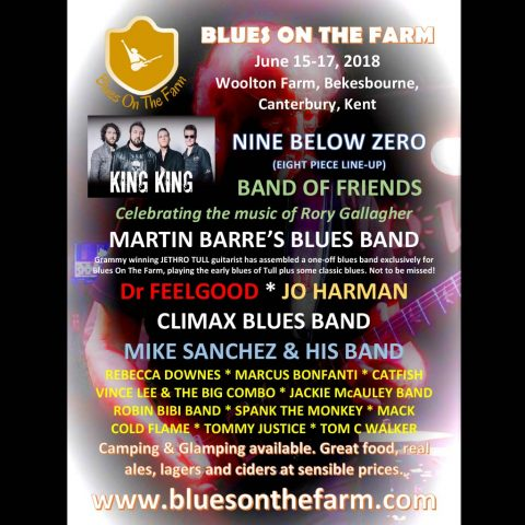 Poster for the Blues on the Farm Festival with King King, Climax Blues Band, Dr Feelgood