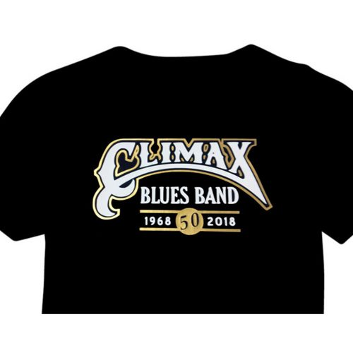 Climax Blues Band 50th Anniversary black T-shirt with gold and white vinyl imprint