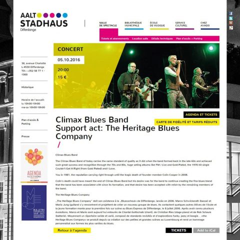 Poster for a Climax Blues Band gig at the Aalt Stadhaus in Differdange