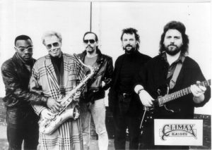 Publicity photo of Climax Blues Band in 1988 with Colin Cooper on sax