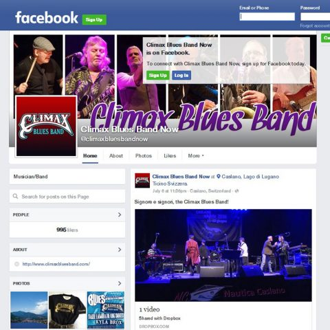 Screen capture of Climax Blues Band Now Facebook page