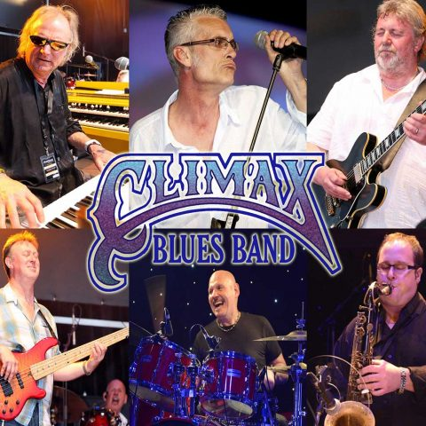 Climax Blues Band poster from 2014 with pictures of all 6 band members - George Glover, Graham Dee, Lester Hunt, Roy Adams, Neil Simpson and Chris 'Beebe' Aldridge.