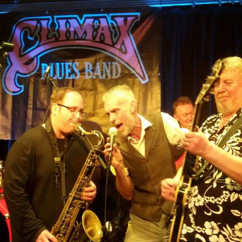Climax Blues Band with Chris 'Beebe' Aldridge on sax, Graham Dee on vocals and Lester Hunt on guitar.