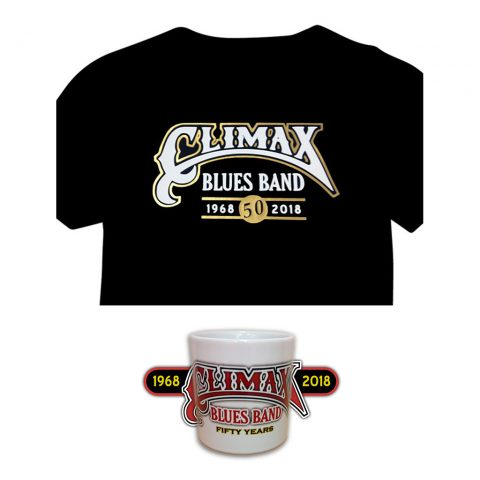 Climax Blues Band 50th Anniversary black t-shirt and white mug
