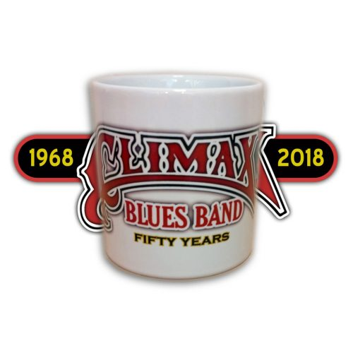 Climax Blues Band 50th Anniversary white mug with red, black and yellow lettering