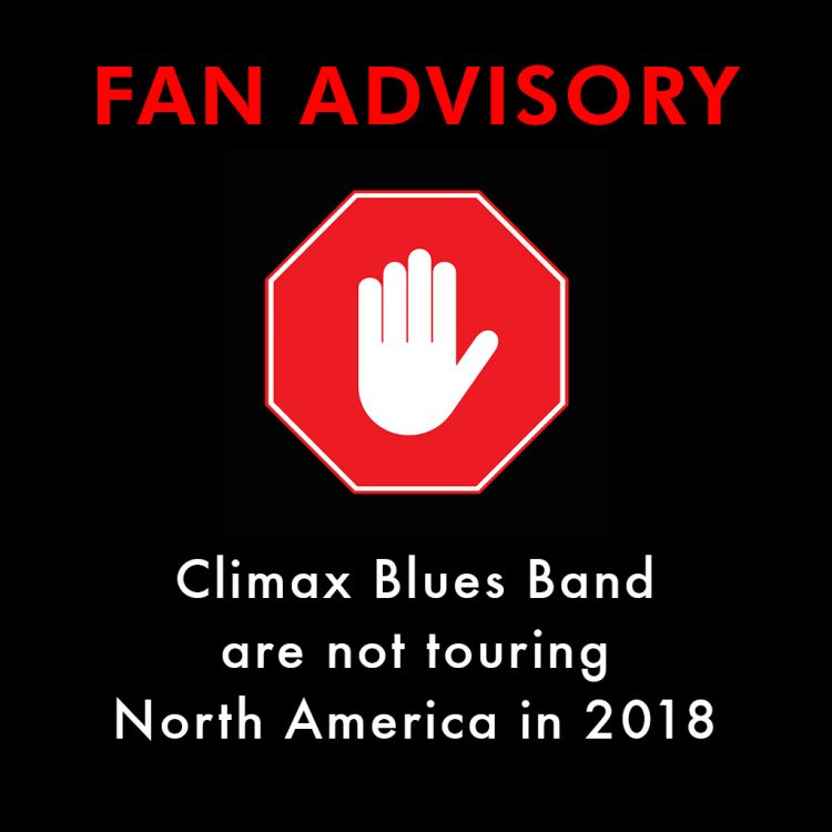 Red warning hand sign to advise fans that Climax Blues Band are not touring USA in 2018
