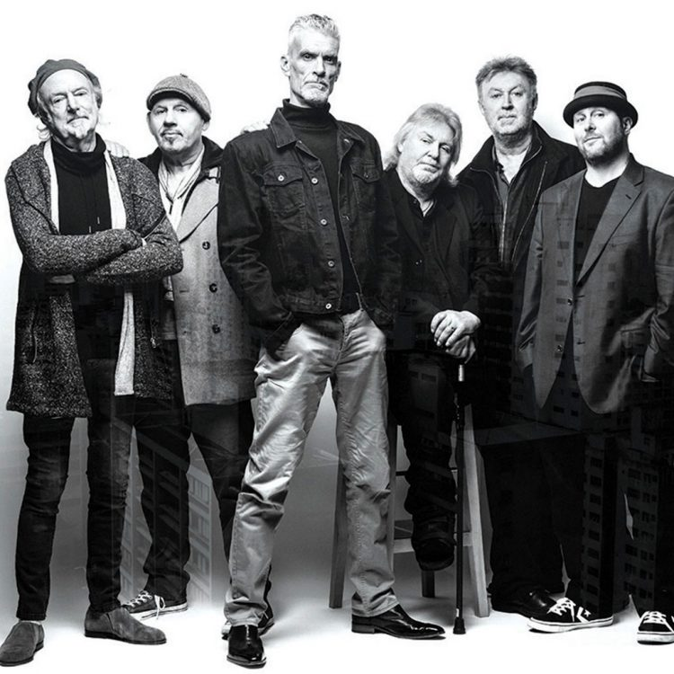 Climax Blues Band black and white photo of all six members