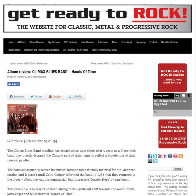 Pete Feenstra blog post for Climax Blues Band Hands of Time album