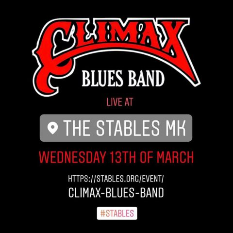 Red and black post for Climax Blues Band gig at The Stables, Milton Keynes