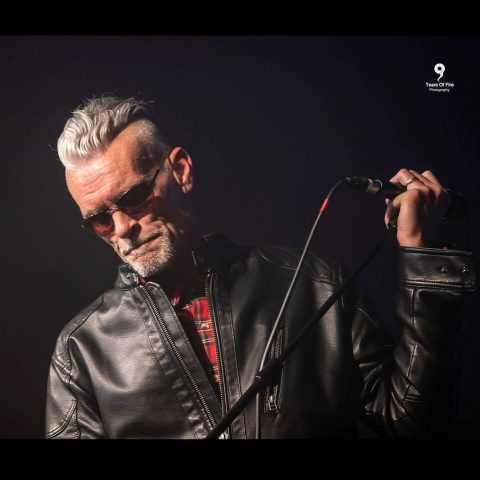 Graham Dee wearing a leather jacket for gig at HRH Sheffield