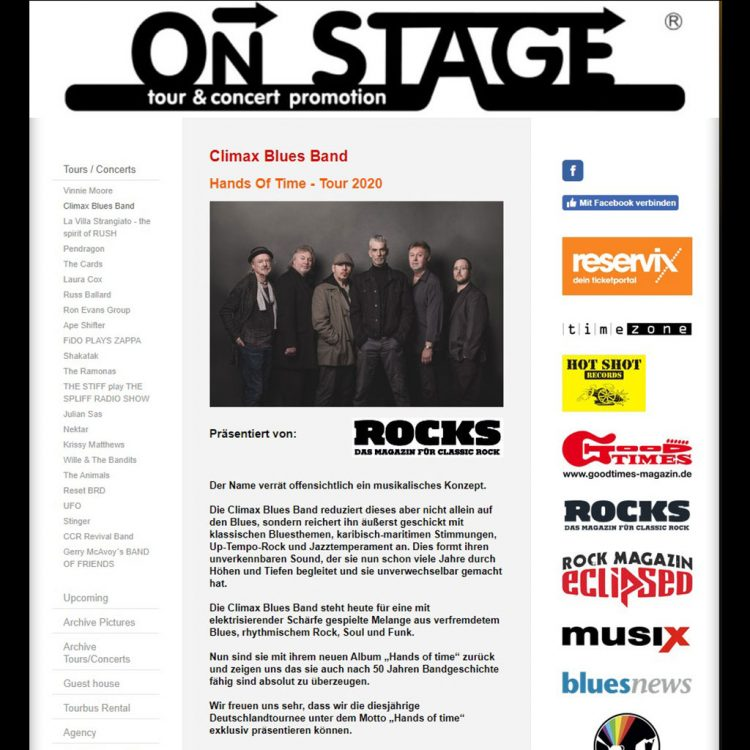 On Stage Tour and Concert promotion for Climax Blues Band Germany 2020 tour