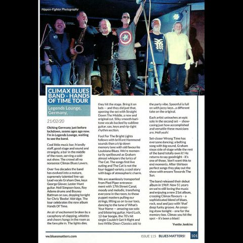 Climax Blues Band 'Hands of Time' tour review Legends Lounge, Germany 21/02/20